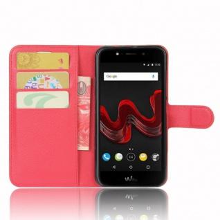 Tasche Wallet Premium Rot für Wiko Wim Lite Hülle Case Cover Etui Schutz Neu Top - Vorschau 2