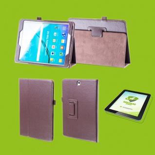 Für Samsung Galaxy Tab S5e 10.5 T720F Braun Etuis Tasche Kunst Leder + H9 Glas