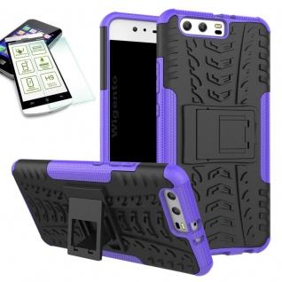 Hybrid Case Tasche Outdoor 2teilig Lila für Huawei P10 Hülle + Hartglas Etui