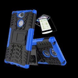 Für Sony Xperia XA2 Plus Hybrid Case 2 teilig Blau Hülle + 0, 3 mm H9 Glas Tasche
