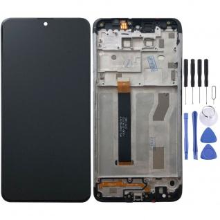 Für LG K50s Dual SIM Schwarz Display LCD Einheit Touch mit Rahmen Ersatz Teil
