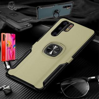 Für Huawei P30 Pro Magnet Metall Ring Hybrid Gold Tasche Etuis + 4D H9 Glas Case
