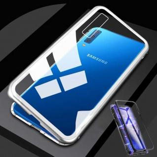 Für Samsung Galaxy A50 6.4 Magnet Metall Glas Transparent / Silber Tasche Hülle