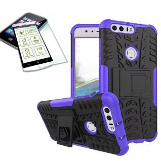Hybrid Case Tasche Outdoor 2teilig Lila für Huawei Honor 8 + Hartglas Cover