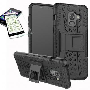 Hybrid Case Tasche 2teilig Schwarz für Samsung Galaxy A8 A530F 2018 + H9 Glas
