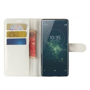 Tasche Wallet Premium Weiß für Sony Xperia XZ2 Hülle Case Cover Schutz Etui Neu - Vorschau 5