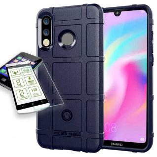 Für Huawei P30 Lite Tasche Shield TPU Silikon Hülle Blau + H9 Glas Case Etuis