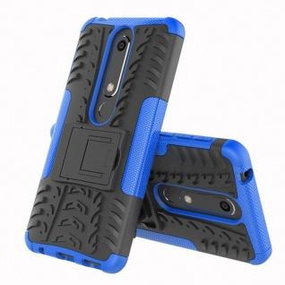 Für Nokia 6 5.5 2018 Hybrid Case 2teilig Outdoor Blau Tasche Hülle Cover Etui