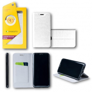 Für Huawei P20 Flip / Smart Cover Weiß Case Schutz Etui Tasche Hülle Schutz Neu