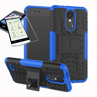 Für LG K9 2018 Hybrid Case Tasche Outdoor 2teilig Blau Hülle + 0, 26mm H9 Glas