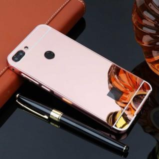 Spiegel / Mirror Alu Bumper 2teilig Pink für Huawei P Smart Tasche Hülle Cover