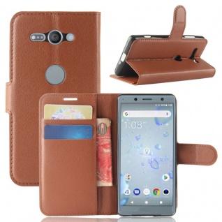 Tasche Wallet Premium Braun für Sony Xperia XZ2 Compact Hülle Case Cover Schutz