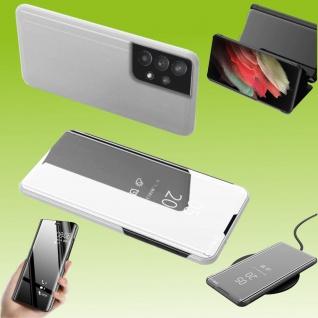 Für Samsung Galaxy A32 5G View Smart Cover Hülle Silber Handy Tasche Etuis Case