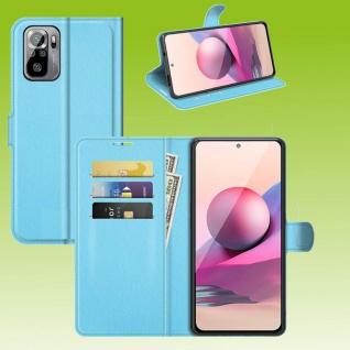 Für Xiaomi Redmi Note 10 Pro Handy Tasche Blau Etuis Kunst-Leder Cover Hülle Neu