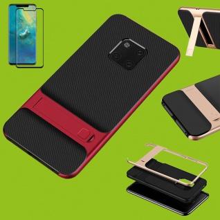 Standing Hybrid Tasche Etuis Rot für Huawei Mate 20 Pro + 4D H9 Curved Glas Neu
