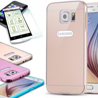 Alu Bumper 2 teilig Gold + 0, 3 mm H9 Hartglas Glas für Samsung Galaxy S6 G920F