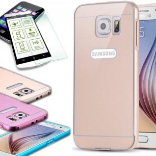 Alu Bumper 2 teilig Gold + 0, 3 mm H9 Panzerglas Glas für Samsung Galaxy S6 G920F