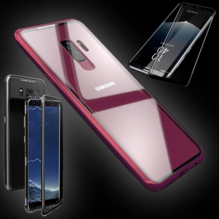 Für Samsung Galaxy S9 Magnet Tasche Rot Transparent + 0, 3 4D H9 Glas Hülle Case