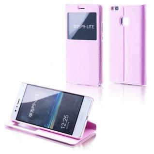 Booktasche Flip Window Rosa für Huawei Y6 / Honor 4A Tasche Cover Hülle Case Neu