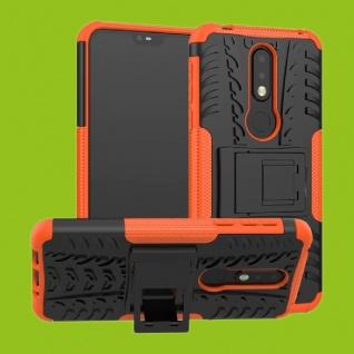 Für Nokia 7.1 5.84 Zoll Hybrid Case 2teilig Outdoor Orange Tasche Hülle Cover
