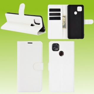Für ZTE Blade 10 Smart Handy Tasche Wallet Weiß Etuis Kunst-Leder Hülle Case Neu