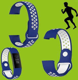 Für Fitbit Charge 3 Kunststoff Silikon Armband für Männer Größe L Blau-Weiß Uhr