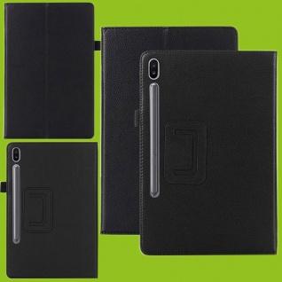 Für Samsung Galaxy Tab S6 10.5 T860 T865 Schwarz Kunst Leder Hülle Tasche Etuis