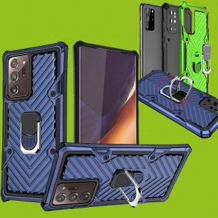 Für Samsung Galaxy Note 20 Ultra Hybrid Case Metall Armor Blau Handy Tasche Etui