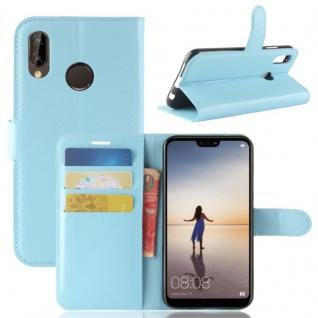 Tasche Wallet Premium Blau für Huawei P20 Lite Hülle Case Cover Schutz Schale