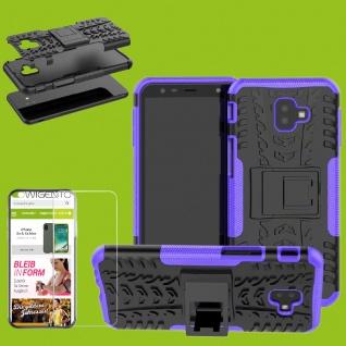 Für Samsung Galaxy J4 Plus J415F Hybrid Tasche Outdoor 2teilig Lila + H9 Glas