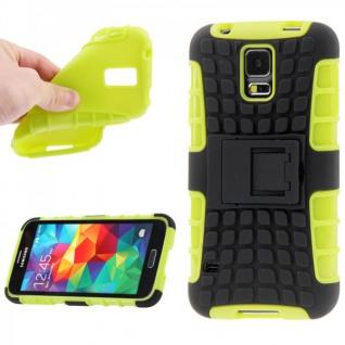 Hybrid Case 2 teilig Robot Grün Cover Hülle für Samsung Galaxy S5 Mini G800 F