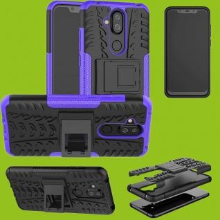 Für Nokia 3.1 Plus 6.0 Zoll Hybrid Case 2teilig Outdoor Lila Tasche Hülle Cover