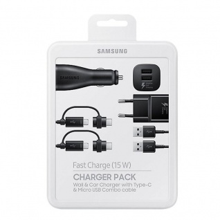 Samsung KFZ Schnellladegerät EP-U3100 Home Ladegerät Micro USB Typ C Combo Kabel