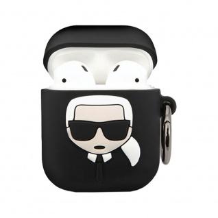 Karl Lagerfeld Silikon Cover für Apple AirPods Schwarz Schutzhülle Tasche Case - Vorschau 2