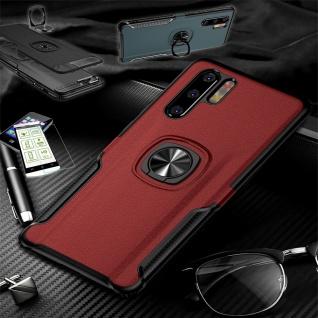 Für Huawei P30 Lite Hybrid Magnet Metall Ring Tasche Rot + H9 Glas Etuis Hülle