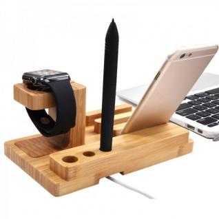 Docking Station Ladestation Bambus Tisch Ständer für iPad iWatch iPhone 5 6 6S + - Vorschau 2
