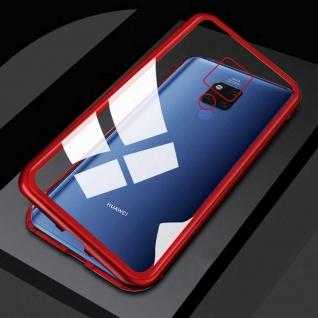 Für Huawei Mate 20 X Magnet Metall Glas Rot / Transparent Tasche Hülle Etuis Neu