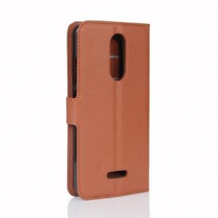 Tasche Wallet Premium Braun für Wiko Upulse Lite Hülle Case Cover Etui Schutz - Vorschau 3