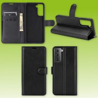 Für Samsung Galaxy S21 Plus Handy Tasche Schwarz Etuis Kunst-Leder Cover Hülle