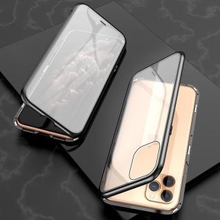 Beidseitiger 360 Grad Magnet Glas Bumper Tasche Schwarz für Apple iPhone 11 6.1