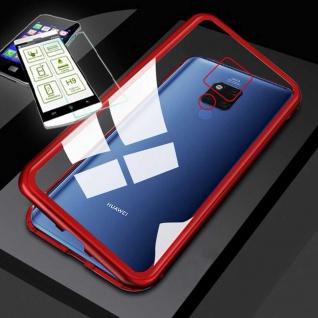 Für Huawei Mate 20X Magnet Glas Tasche Rot / Transparent + 0, 26 H9 Glas Etuis
