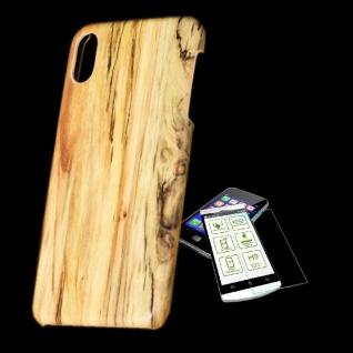 Für Apple iPhone XS MAX Tasche Holz Muster 3 Hart Cover + H9 Glas Case Schutz