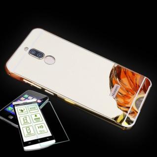 Alu Bumper 2 teilig Gold + 0, 3 H9 Panzerglas für Huawei Mate 10 Lite Tasche Case