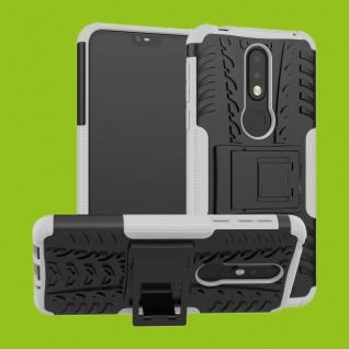 Für Nokia 7.1 5.84 Zoll Hybrid Case 2teilig Outdoor Weiß Tasche Hülle Cover Etui