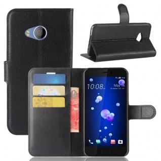 Tasche Wallet Premium Schwarz für HTC U11 Life Hülle Case Cover Etui Schutz Neu