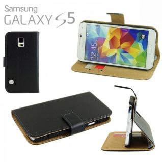 Wallet Deluxe Tasche Schwarz für Samsung Galaxy S5 G900F S5 Plus G901F Hülle Neu
