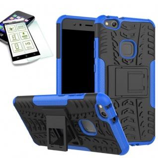 Hybrid Case Tasche Outdoor 2teilig Blau für Huawei P10 Lite Hülle + Hartglas