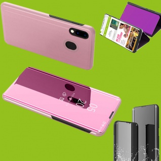 Für Huawei P Smart Plus 2019 Clear View Smart Cover Pink Tasche Hülle Wake UP
