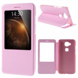 Booktasche Flip Window Rosa für Huawei G8 5.5 Zoll Tasche Cover Hülle Case Neu