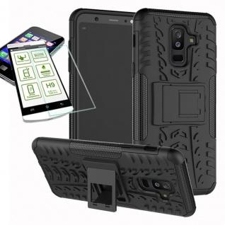Hybrid Tasche Outdoor 2teilig Schwarz für Samsung Galaxy A6 A600 2018 Hülle Glas